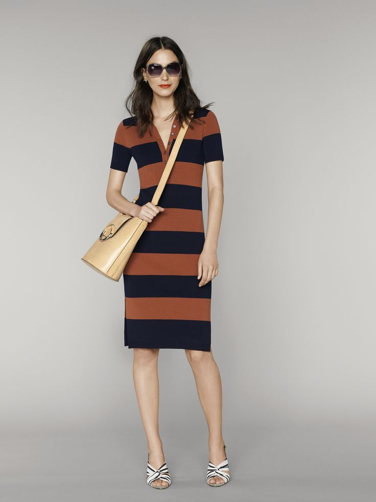 This casual and sophisticated striped collared dress is a perfect on-the-go outfit. We've accessorized it with a beige crossbody bag and striped heeled sandals for a complete look | Banana Republic Summer '16