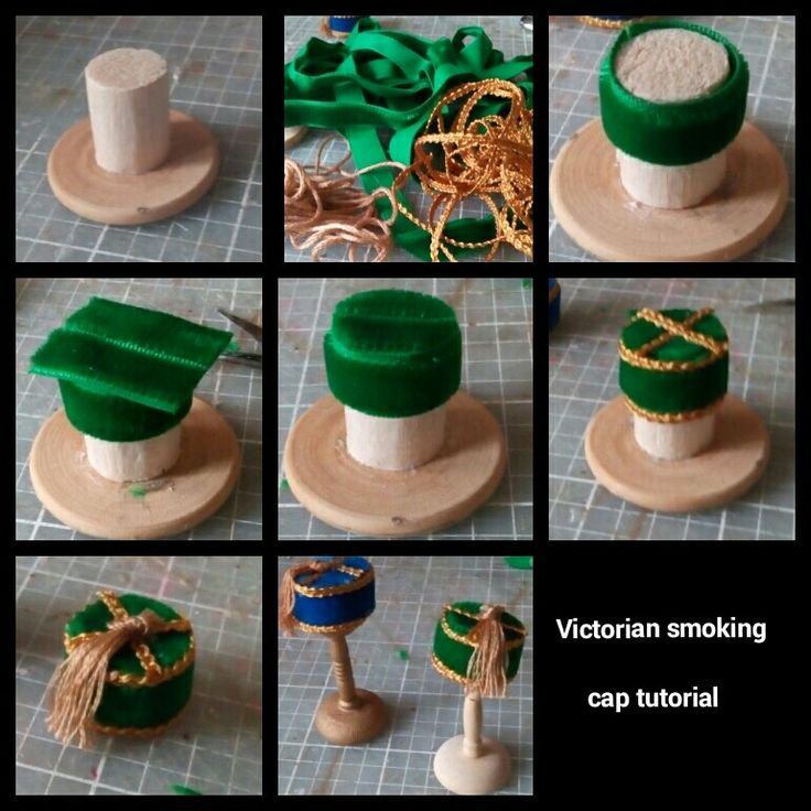 2nd tutorial this time for a men's Victorian smoking cap. It's made on the hat form I used for the top hat. (Please note these hats are for display purposes) materials used are velvet ribbon, braid, embroidery silk, UHU glue and fabric glue. As before these are the glued that work for me you may have something different that works for you. Use the hat form with the same principles as the top hat