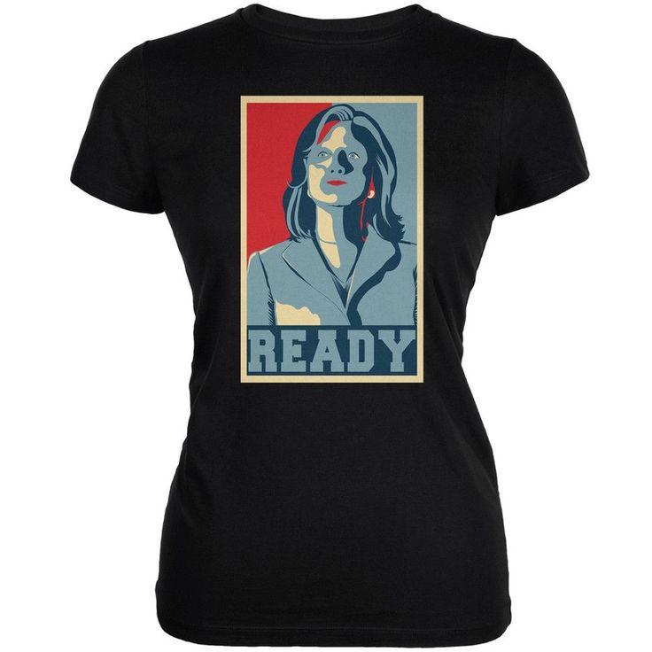 Election Hillary Clinton Ready Poster Black Juniors Soft T-Shirt