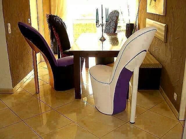 High heel chairs dining room for the home decor for Sillas para zapateria