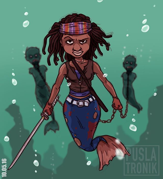 "День 10-й...Русалка Мишон из ""Плавающих мертвецов""! Michonne from Floating dead😄 #MerMay #mermaid #michonne #walkingdead #danaigurira #art #2d #deep #draw #zombie #illustration #instaart #instalike #photoshop #wacom #blood #puslatronik #dailydraw"