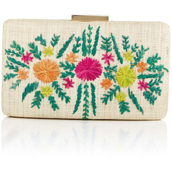 KAYU Small Rectangular Floral Clutch found on Polyvore featuring bags, handbags, clutches, straw purses, straw clutches, kayu, straw handbags and floral clutches