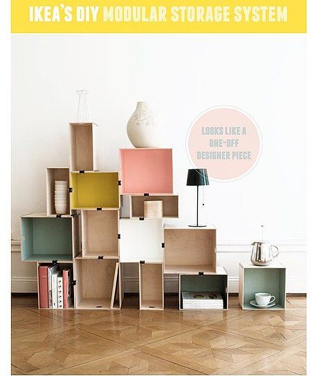 24 Living Room DIYs: Hack Ikea modules into a chic storage system. So brilliant!