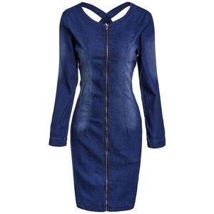 Casual Scoop Neck Long Sleeve Slimming Zip Up Women's Denim Dress
