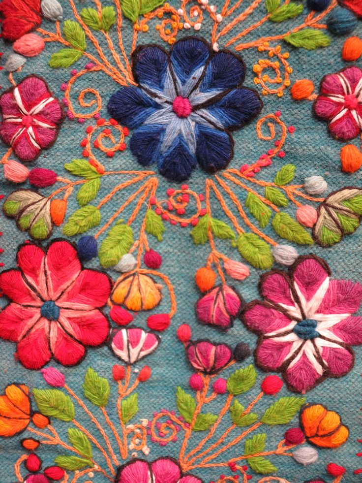 ♒ Enchanting Embroidery ♒ embroidered peruvian wool flowers