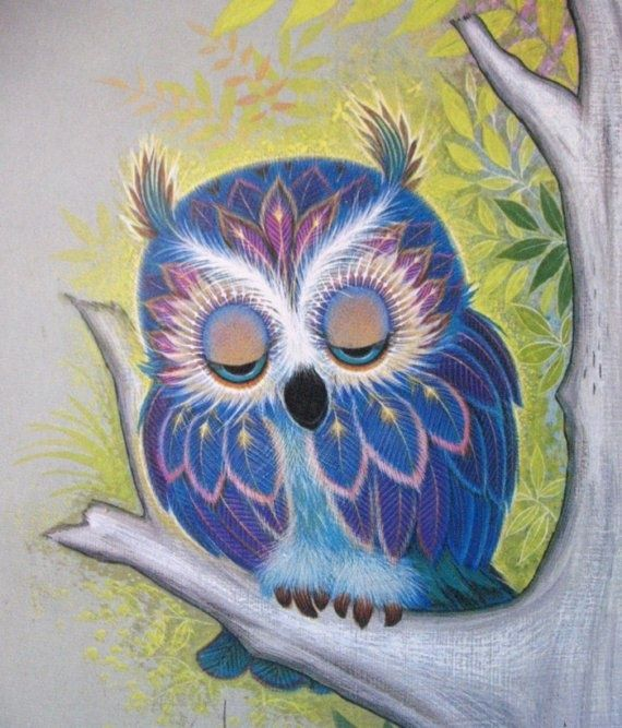 Vintage K Chin Owl Lithograph by mousefacevintage on Etsy