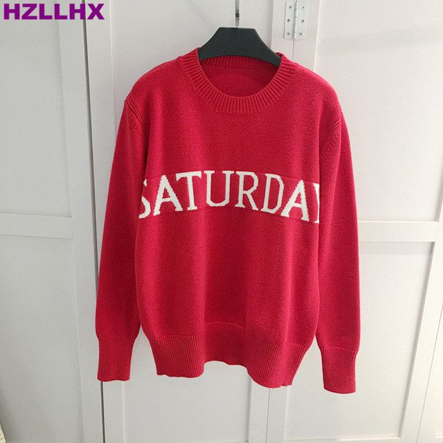 HZLLHX a week Week Sweater Women sweater Chic Knitting Monday Tuesday Wednesday Thursday Friday Saturday Sunday pollovers top