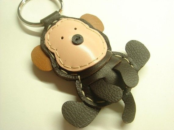 Kelvin the Monkey Leather Keychain  Brown  by leatherprince, $19.90