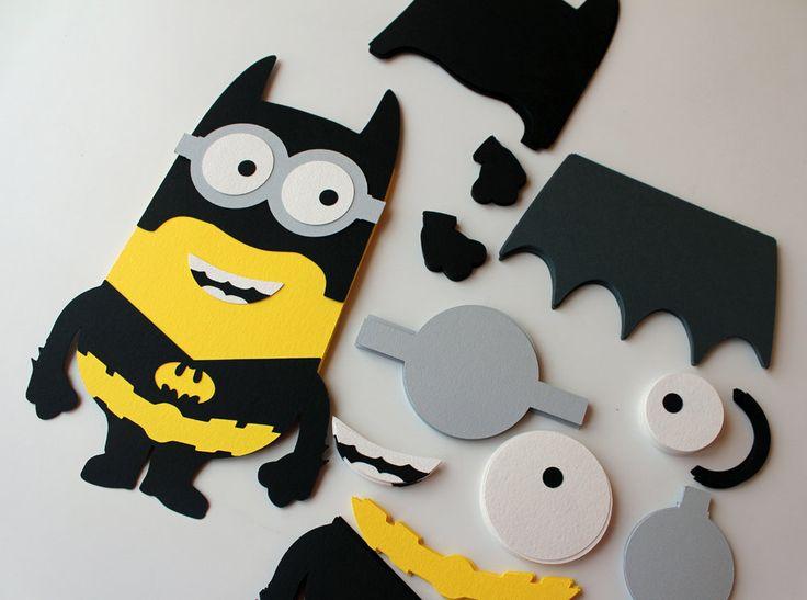 DIY Batman minion party game DIY party games DIY Batman Minion cutout Superhero minion Batman cutout Pin the googles minion seper hero game - pinned by pin4etsy.com