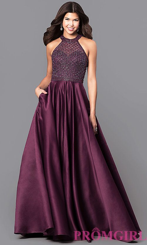 Long Eggplant Purple Satin Prom Dress with Pockets