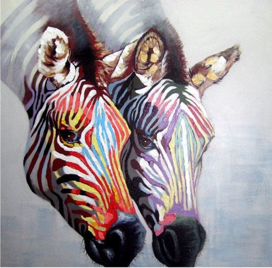 COUPLE ZEBRA WITH COLORFUL STRIPES - HANDMADE OIL PAINTING ON CANVAS - WALL ART