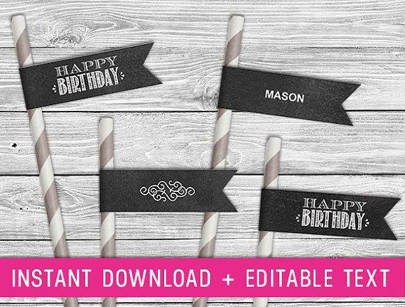 Printable Straw Flag  - Black Chalk Board (birthday straws, paper straw flag, chalkboard sign, birthday straw tag, chalkboard birthday)