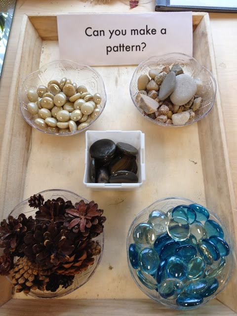 Patterning provocation - Can you make a pattern? Instead of a sensory box - little boxes of collections.