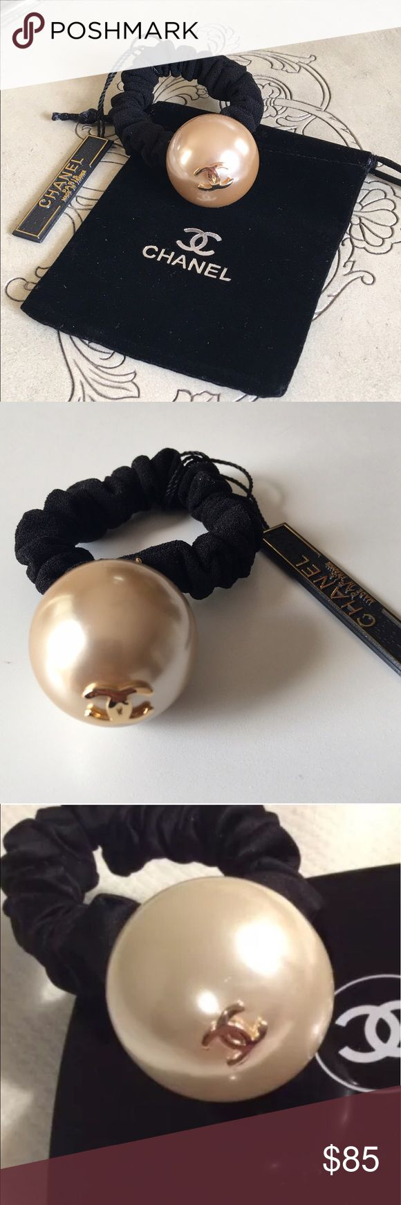 CHANEL NEW HAIR PEARL SCRUNCHIE  ELASTIC HOLDER AUTHENTIC VIP CLUB GIFT, GIVEN WITH PURCHASE   MADE  EXCLUSIVELY FOR CHANEL, THE LABEL ON BACK. LUXARY ITEM AND CLASSIC LOOK!!  NO LONGER AVAILABLE!!!   LISTING IS IVORY, ALSO AVAILABLE IN LIGHT SILVER. CHANEL Accessories Hair Accessories