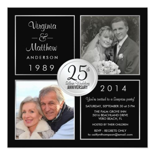 25th Wedding Anniversary Invitations 25th Silver Wedding Anniversary Surprise Party Card