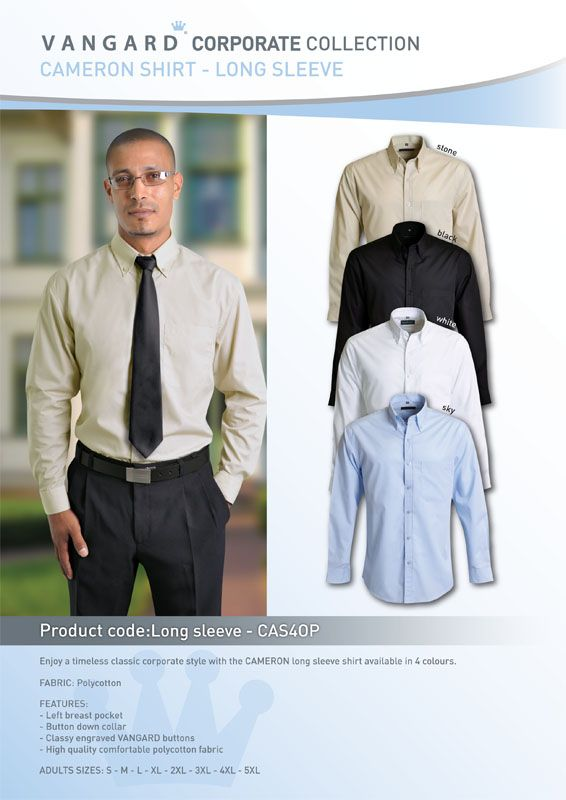 Enjoy a timeless classic corporate style with the CAMERON long sleeve shirt is available in 4 colours.  FABRIC: Polycotton  FEATURES: - Left breast pocket - Button down collar - Classy engraved VANGARD buttons - High quality comfortable polycotton fabric  ADULT SIZES: S - M - L - XL - 2XL - 3XL - 4XL - 5XL
