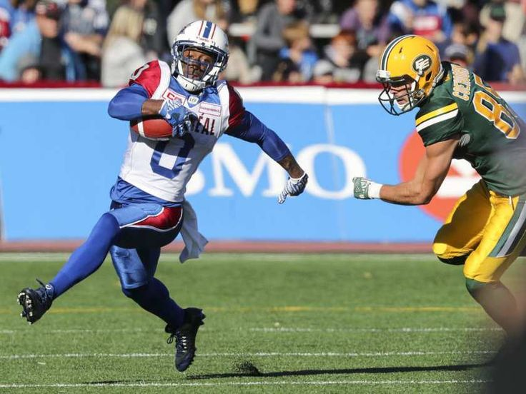 WK 16 - Edm.40 - Mtl.20 - Montreal Alouettes kick returner #0 Stefan Logan gets around Edmonton Eskimos' #85 Nate Coehoorn while returning a punt during CFL action at Molson Stadium in Montreal on Monday, Oct. 10, 2016.