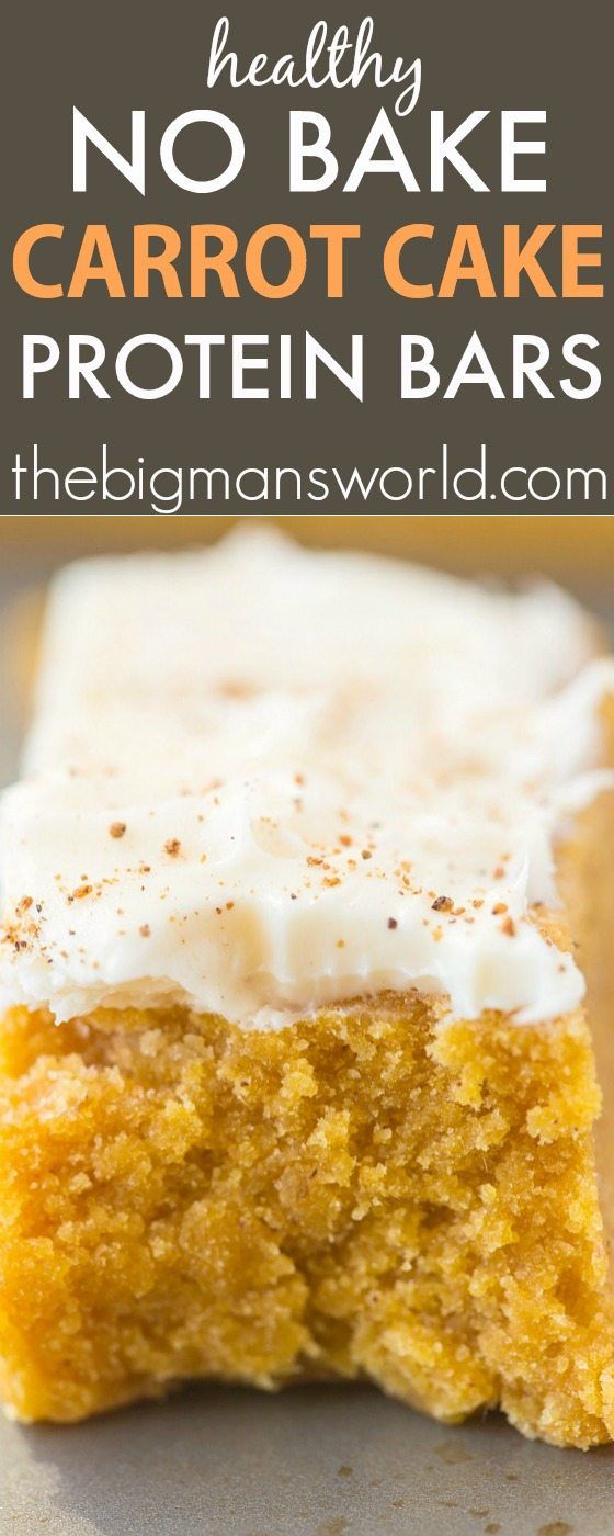 Healthy No Bake Carrot Cake Protein Bars- A delicious recipe which tastes like dessert but is so healthy, including the healthy frosting- Ready in 5 minutes! {vegan, gluten-free, paleo option}- thebigmansworld.com