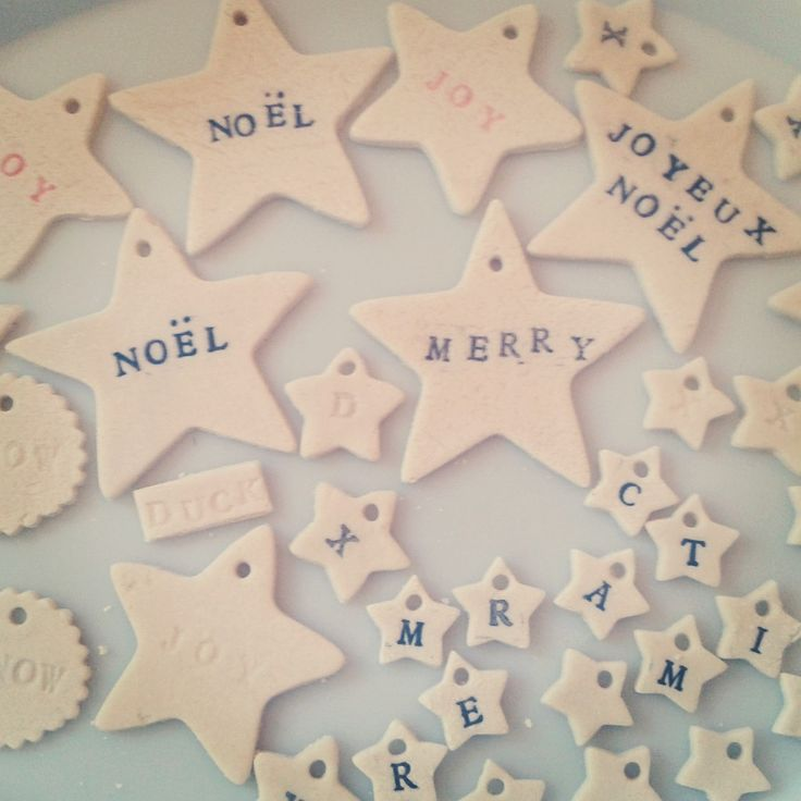 Homemade Christmas decorations: looks like stamped salt dough ornaments
