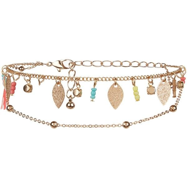 New Look Gold Beaded Anklet (9.85 AUD) ❤ liked on Polyvore featuring jewelry, white, beaded anklets, bead jewellery, anklet jewelry, white jewelry and beading jewelry