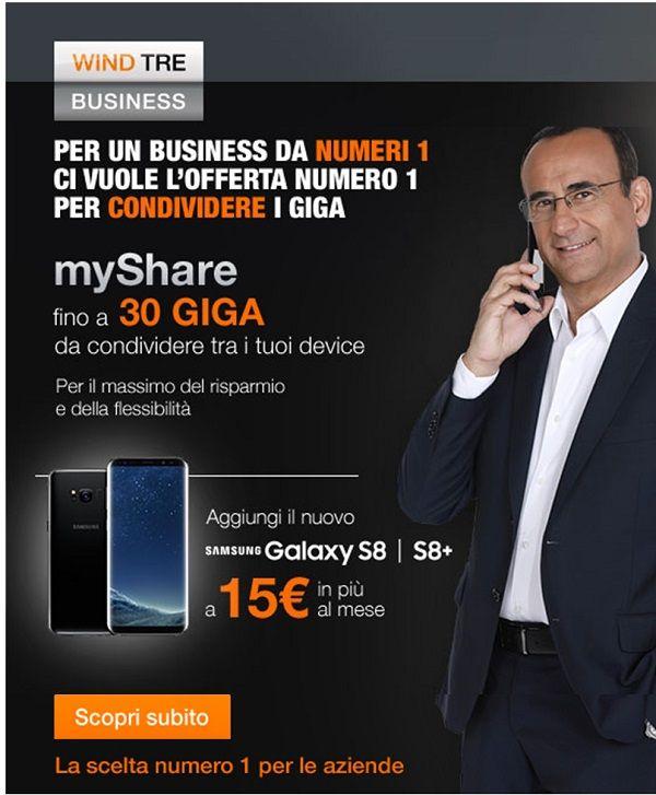 MyShare per un Business da numeri 1 ci vuole l'offerta numeri 1 per condividere i Giga. My Share fino a 30 Giga da condividere Aggiungi il nuovo Samsung Galaxy S8 l S8+ Contattaci al numero 06 90289591 #WindTreBusiness