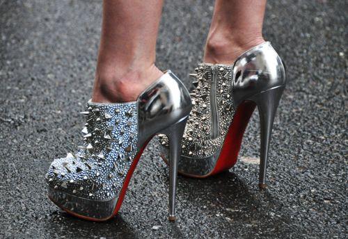 silver studded spike heels