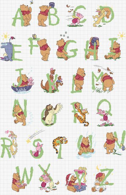 Free Winnie The Pooh Alphabet Cross Stitch Chart
