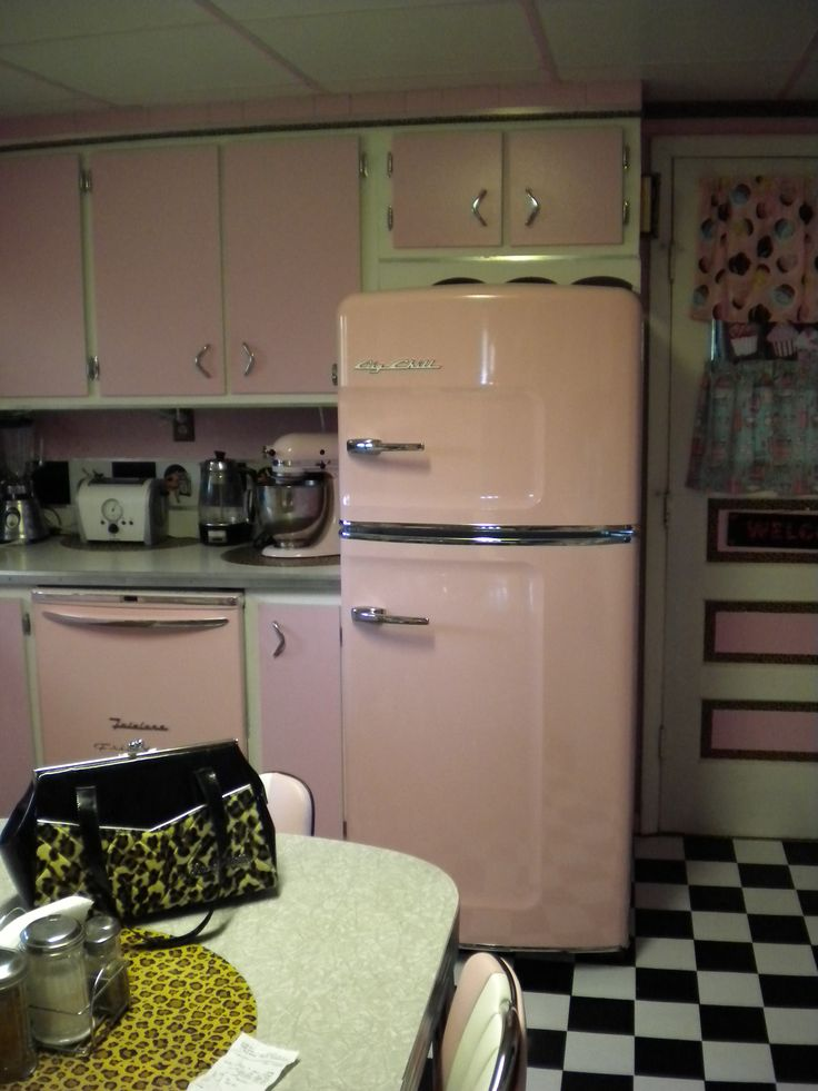 New retro replacement fridge a pink Big Chill. JamieFarone