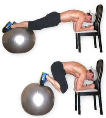 These are an awesome abs and core move. Using bosu ball and chair or bench.