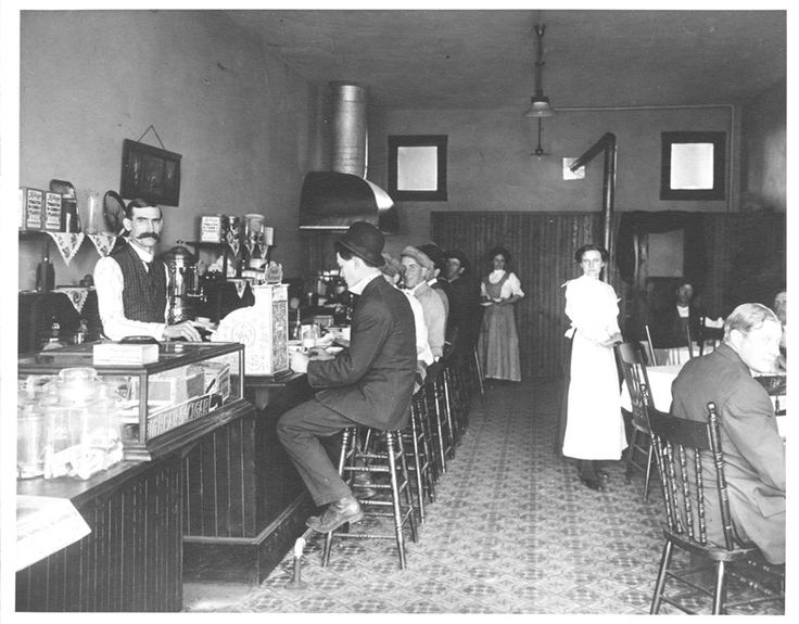 """Patrons and employees at the Jewel City Restaurant once located at 556 West Broadway in Glendale, 1910. The restaurant was owned by W. H. Easton and, according to the 1910 City Directory, is professed to have the """"Best 25 cent meals in the Valley."""" Glendale Central Public Library. San Fernando Valley History Digital Library."""