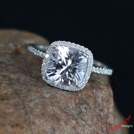 White Sapphire Diamond Cushion halo Engagement by WanLoveDesigns