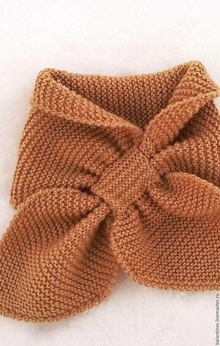 Купить Шарф Бант вязаный - желтый, шарф, шарфик, шарфик вязаный, шарфики
