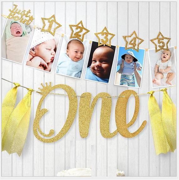 2 Sets 1st Baby Birthday Just Born To 12 Months Cardboard Gold Glitter Wood Peg Diy Party Decoration Shower Bunting Banner Flag Room In 2020 Birthday Photo Banner First Birthday Banners 1st Birthday