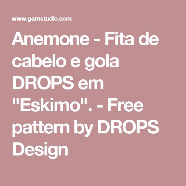 "Anemone - Fita de cabelo e gola DROPS em ""Eskimo"". - Free pattern by DROPS Design"