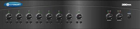 Crown Audio 8-Input Commercial Grade Business Mixer/amplifier by Crown. $659.00. Crown,s Commercial Audio mixer/amplifiers deliver legendary Crown quality to the commercial audio industry. These high-value mixer/amplifiers provide both 4-ohm and constant-voltage outputs (70V and 100V) for use in a wide range of commercial applications including schools, hospitals, factories, restaurant/retail, houses of worship, fitness facilities, A/V boardrooms, prisons, and small offi...