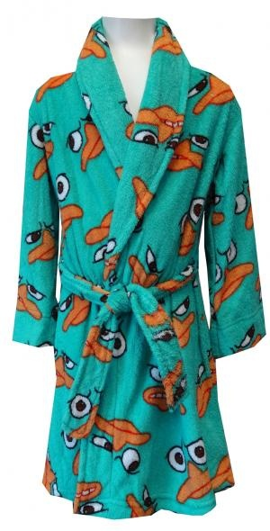 Disney Phineas and Ferb Perry The Platypus Plush Robe  These cozy robes feature an all-over print of Perry the Platypus from the hit show Phineas and Ferb. This signature colored teal robe is made of a super soft and cozy plush fleece fabric and features an anchored belt on the exterior. $24