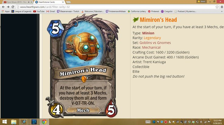 Future Professional Hearthstone Player And These Are The Legendaries I Own...... **Mimiron's Head** P.S: The Cards Do Not Make or Break a Player...Its How You Use The Cards You Have That Shows The True Skill Of A Player.