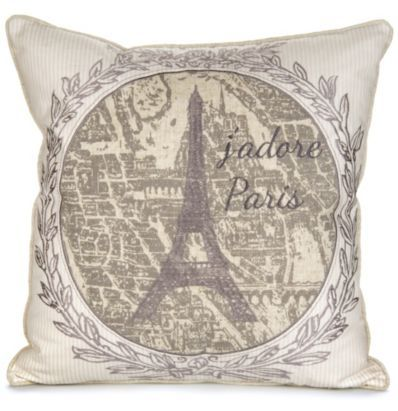 "With a beautiful embroidery of the Eiffel tower, this cushion will make you say ""Oh la la!"" #ParisSouvenirs #Landmark"