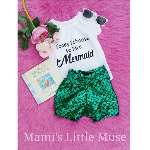 Green Mermaid Shorts / Baby and Toddler Leggings / Sizes Newborn to 5T/Mermaid fish scale Leggings