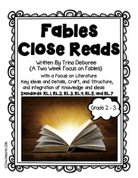 Fables focusing on standards is a mini-unit taken from Folktales, Fairytales, and Fables: A Magical Unit of Study. This two-week focus allows students to take a fascinating look at complex text. Two weeks of teacher-tested lesson plans are included! Authentic lesson plan includes: essential questions, formative and summative assessments, gradual release model, independent practice, text-based questions, opportunities for partner work, graphic organizers, vocabulary work, and more.