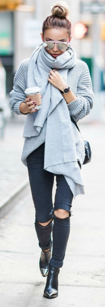 Try a greyscale outfit + cool + autumn chic + Not Jess Fashion + cable knit sweater + jeans + oversized scarf + simple, yet effective.   Outfit: Coach.     .