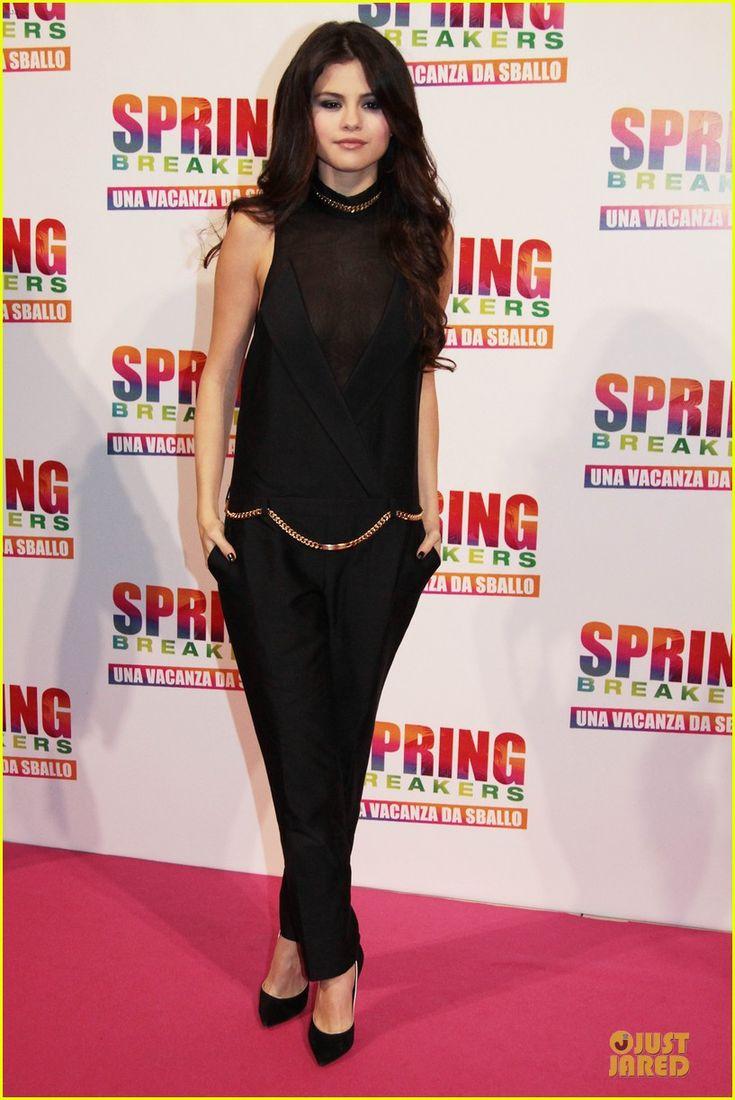 Selena, at the Rome premiere of Spring Breakers on February 22, wore Casadel heels and Melinda Maria earrings