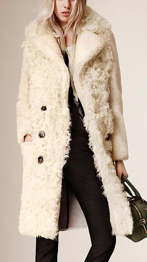 Bianco Cappotto aderente con shearling a contrasto - Immagine 1