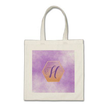 Violet and faux gold hexagon frame and monogram tote bag - monogram gifts unique custom diy personalize