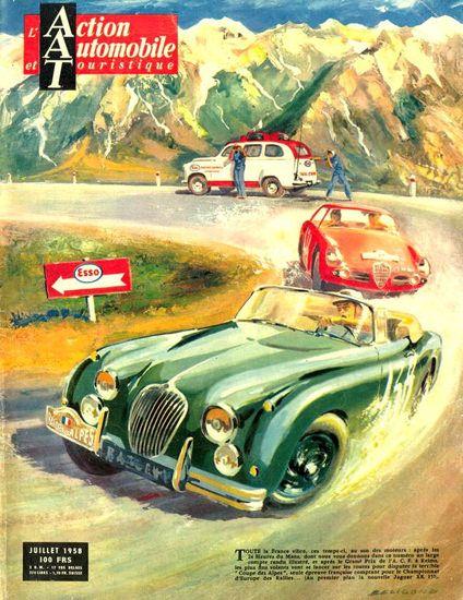 Jaguar XK 150 Coupe Des Alpes Esso 1958 - Mad Men Art: The 1891-1970 Vintage Advertisement Art Collection
