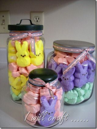 Peeps!Ball Jars, Little Gift, Cute Ideas, Decor Jars, Shower Decor, Easter Gift, Jelly Beans, Holiday Decor, Easter Ideas