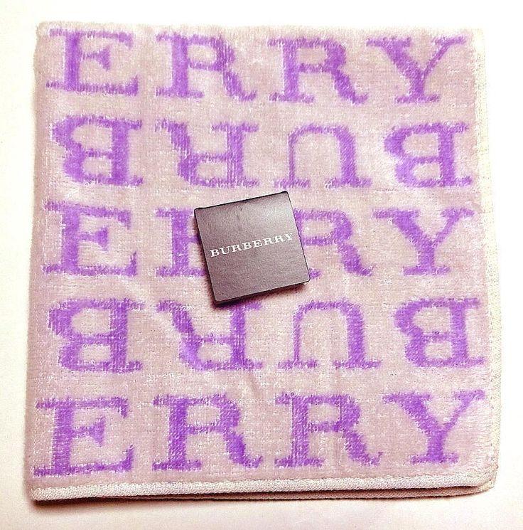 Burberry Mini Towel Handkerchief Cotton Purple Logo Auth New JPN Limited Rare #Burberry