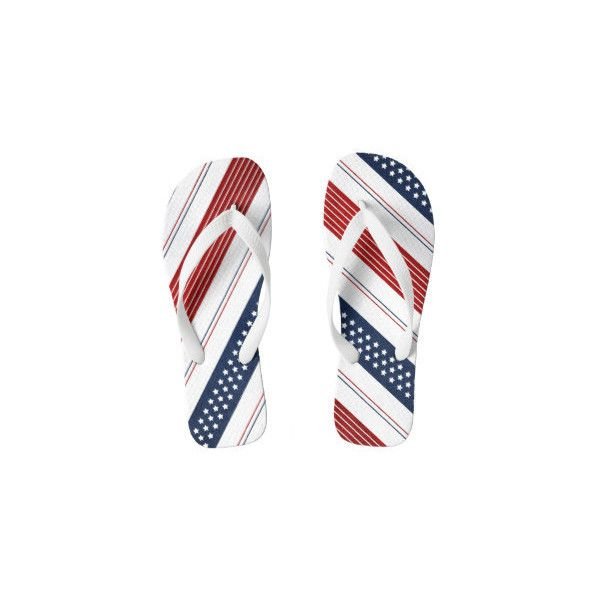 Red White And Blue Flip Flops ❤ liked on Polyvore featuring shoes, sandals, flip flops, red white and blue flip flops, red sandals, red flip flops, blue and white flip flops and blue white shoes
