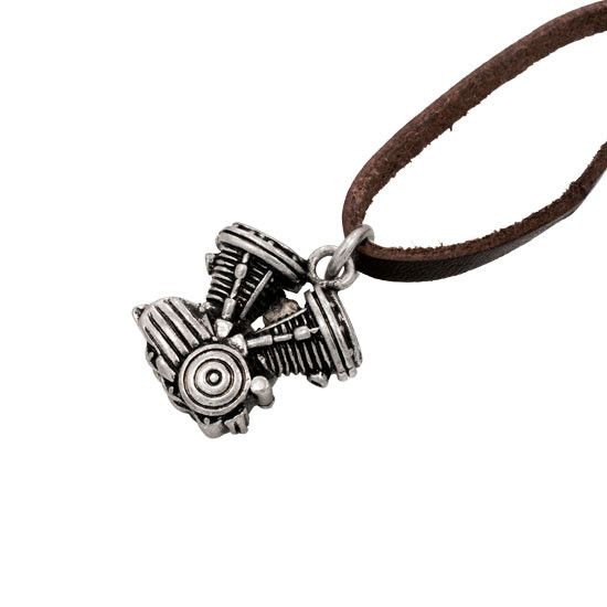 Motorcycle Engine Antique SILVER Pendant BROWN Leather Necklace