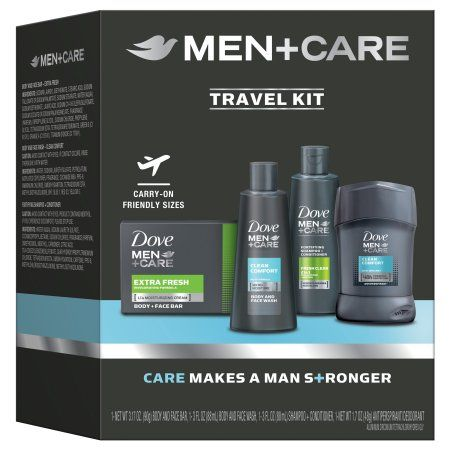 Dove Men+Care Trial & Travel Variety Holiday Gift Box ( Body & Face Bar / Body & Face Wash / 2-in-1 Shampoo / Antiperspirant Stick), 4 Pieces